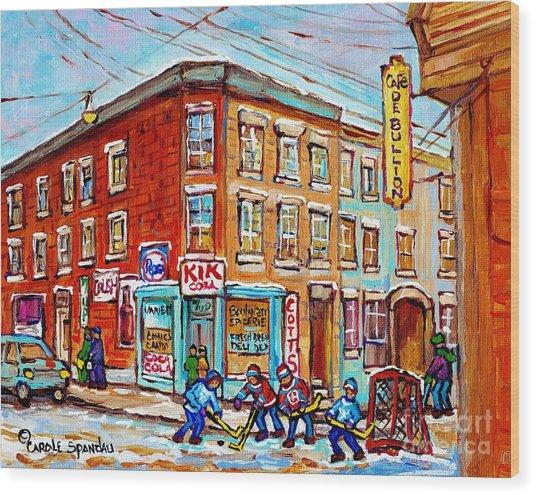 Montreal Storefront Paintings Debullion Street Hockey Art Quebec Winterscenes C Spandau Canadian Art Wood Print