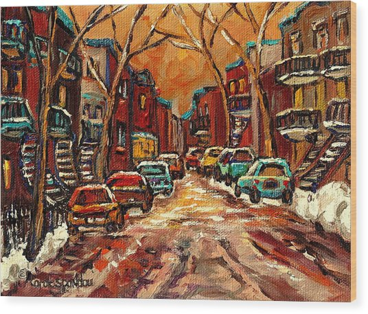 Montreal Streets In Winter Wood Print