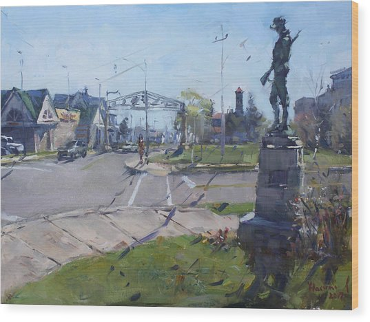 Monument At Pine Ave And Portage Rd Wood Print