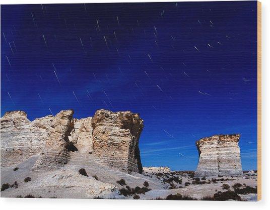 Monument Rocks Moonlight Wood Print