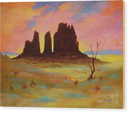 Monument Wood Print by Shasta Eone