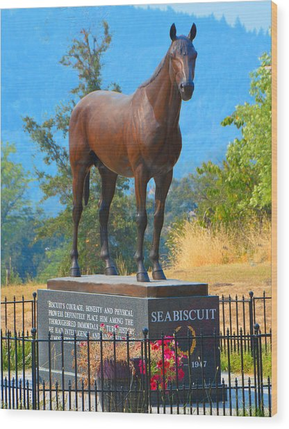 Monument To Seabiscuit Wood Print