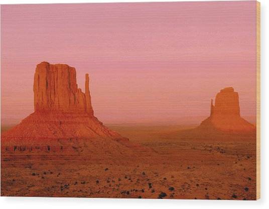 Monument Valley  --  The Mittens  Wood Print