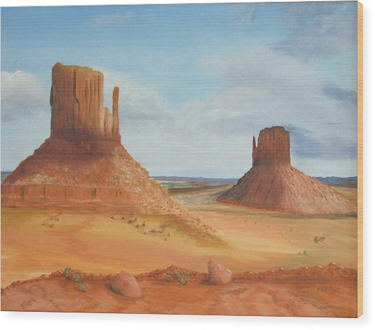 Monument Valley    The Mittens Wood Print by Philip Hall