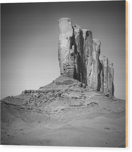 Monument Valley Camel Butte Black And White Wood Print by Melanie Viola