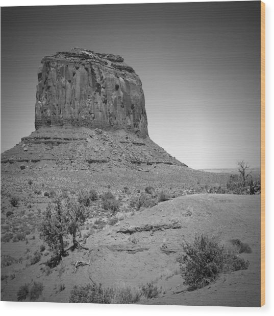 Monument Valley Merrick Butte Black And White Wood Print by Melanie Viola