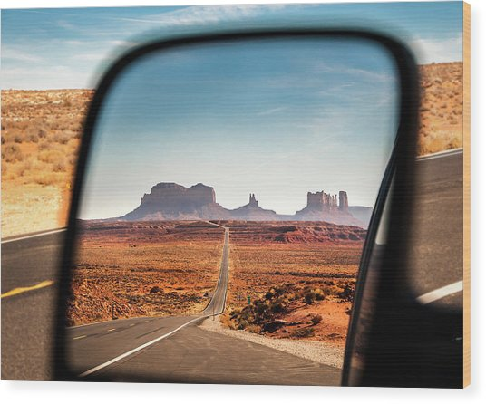Monument Valley Rearview Mirror Wood Print