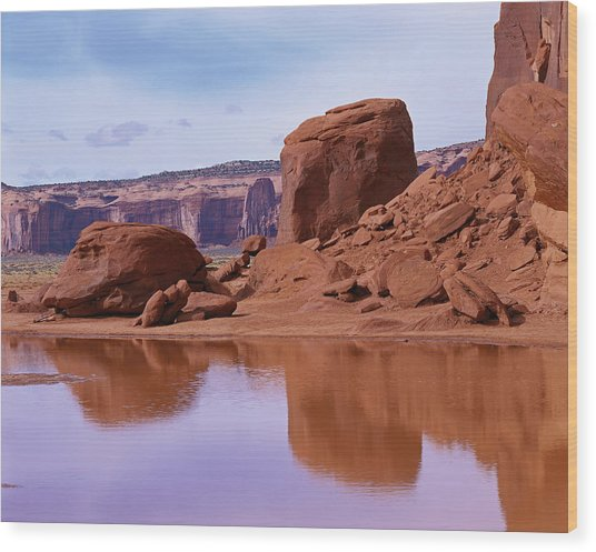 Monument Valley Reflection Wood Print