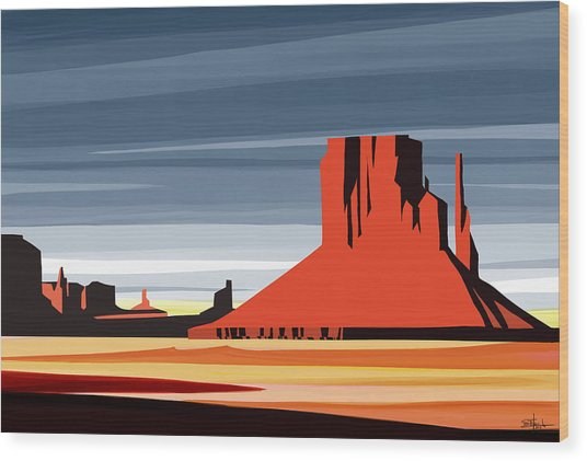 Monument Valley Sunset Digital Realism Wood Print