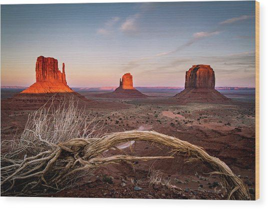 Wood Print featuring the photograph Monument Valley Sunset by Wesley Aston