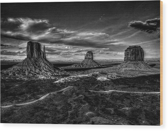 Monument Valley Views Bw Wood Print