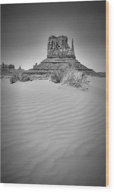 Monument Valley West Mitten Butte Black And White Wood Print by Melanie Viola