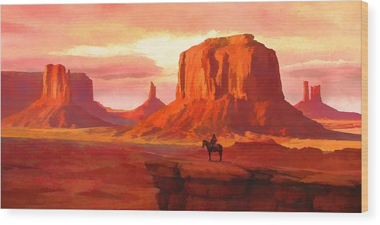 Monumental Sunset Wood Print