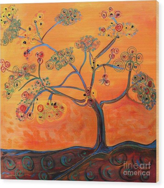 Orange Flamboyan Wood Print