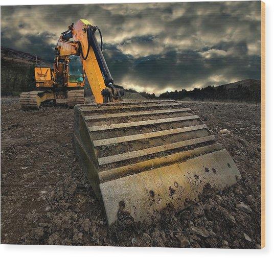 Moody Excavator Wood Print