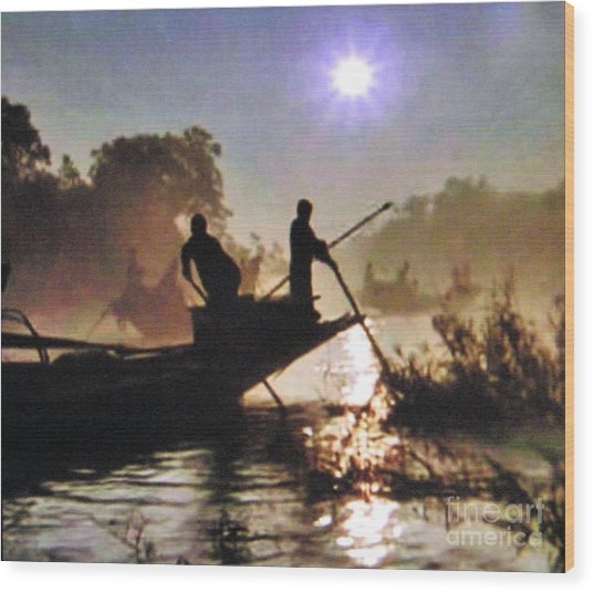 Moody River Silhouettes At Sunset Wood Print