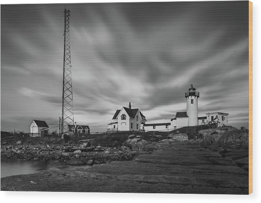 Moody Sky At Eastern Point Lighthouse Wood Print