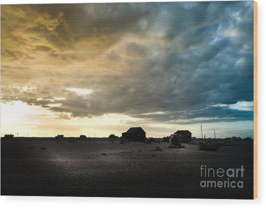 Moody Sky, Dungeness Beach  Wood Print