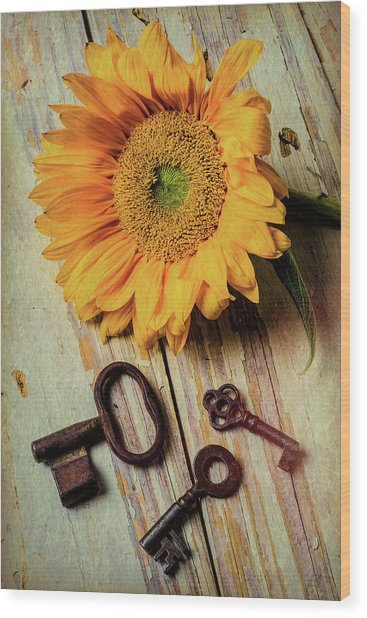 Moody Sunflower With Keys Wood Print