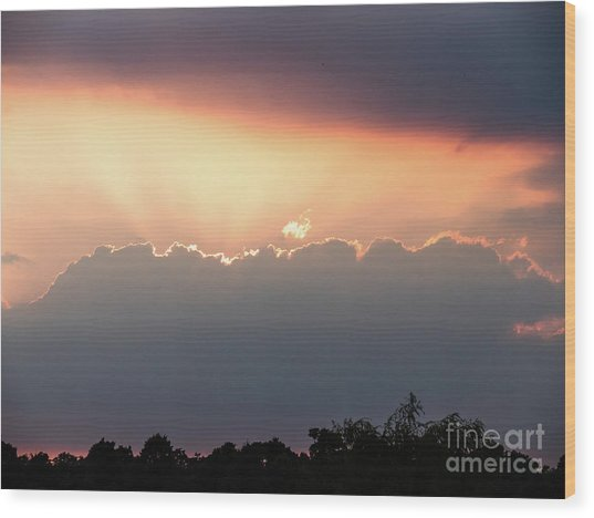 Moody Sunset Clouds Wood Print