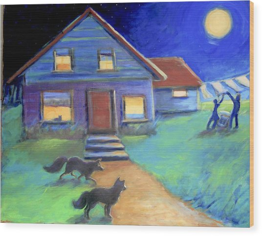 Moolight Laundry Wood Print