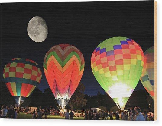 Moon And Balloons Wood Print