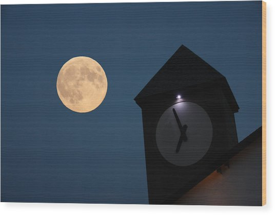 Moon And Clock Tower Wood Print