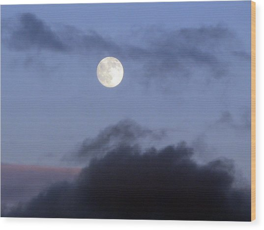 Moon And Clouds Wood Print by Richard Singleton