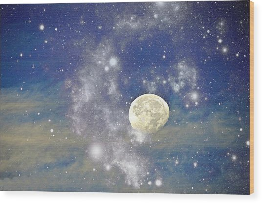 Moon And The Stars Wood Print