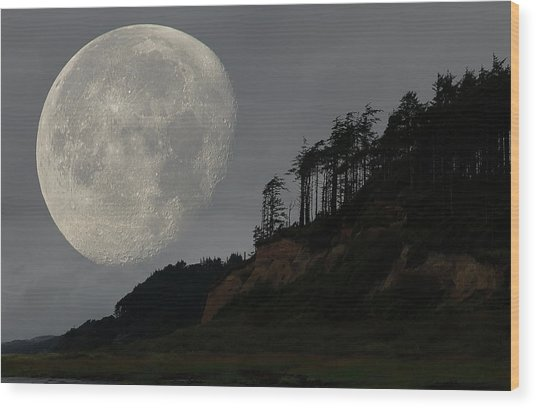 Moon At Roosevelt Beach Wa Wood Print