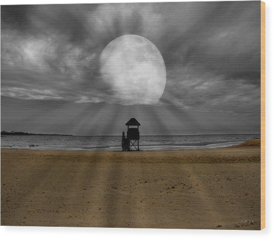 Moon Beams Wood Print