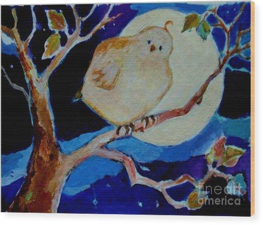 Moon Bird Wood Print by Diane Ursin