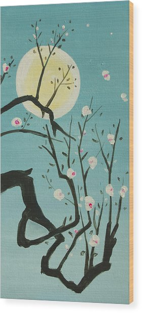 Moon Blossoms Wood Print