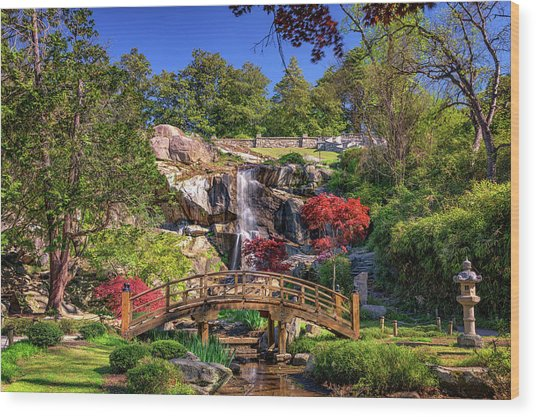 Moon Bridge And Maymont Falls Wood Print