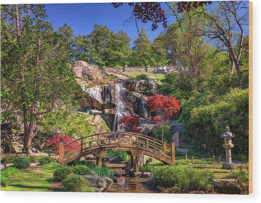 Moon Bridge And Maymont Falls Wood Print