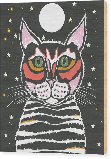Moon Cat - Funny Animal Wood Print