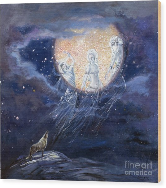 Moon Dance Wood Print by Silvia  Duran