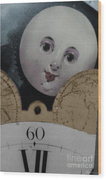Moon Face Wood Print