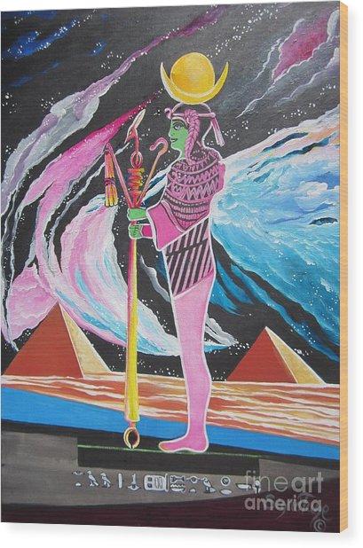 Blaa Kattproduksjoner             Moon God - Osiris Wood Print
