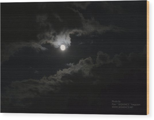 Moon In The Sky 2 Wood Print