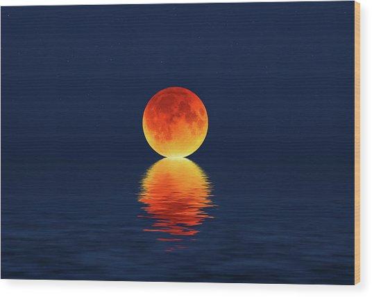 Moon Kissing The Sea Wood Print