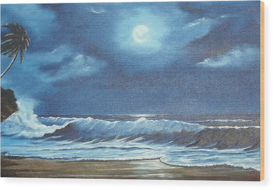Moon Light Night In Paradise Wood Print