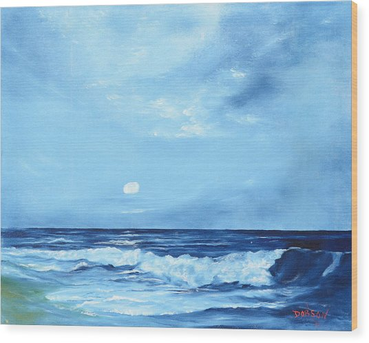 Moon Light Night Wave Wood Print
