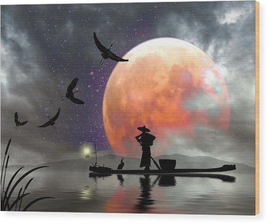 Moon Mist Wood Print