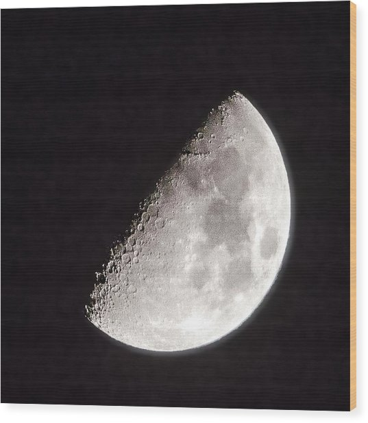 Moon On Day 7 Wood Print