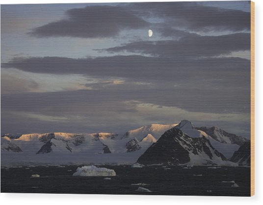 Moon Over Alpine Glow Antarctica Wood Print