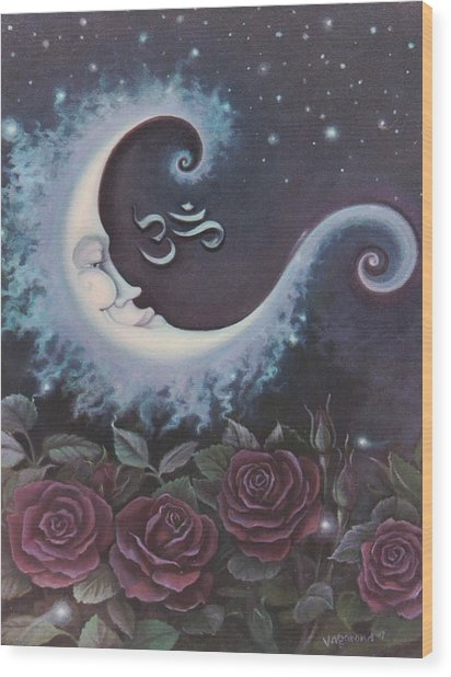 Moon Over Bed Of Roses Wood Print