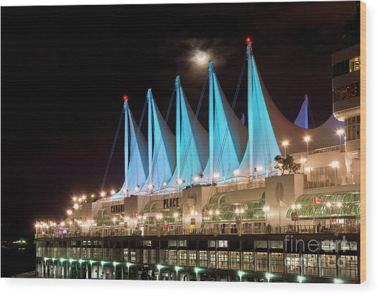Moon Over Canada Place In Vancouver Wood Print