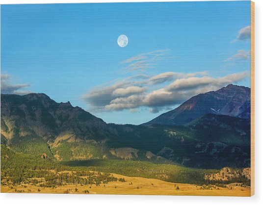 Moon Over Electric Mountain Wood Print