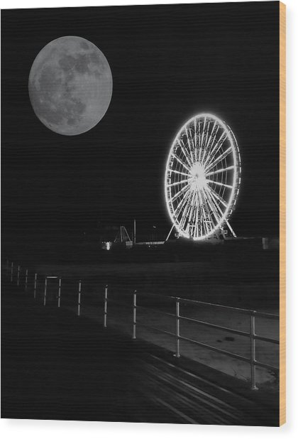 Moon Over Ferris Wheel Wood Print